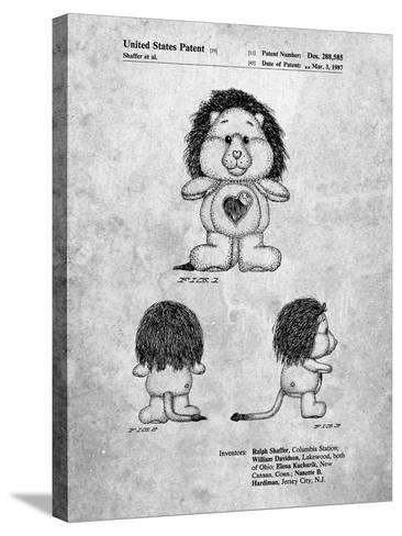 Brave Heart Lion Care Bear Patent Art Print-Cole Borders-Stretched Canvas Print