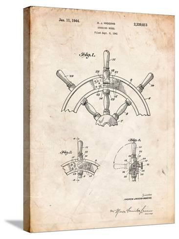 Ship Steering Wheel Patent-Cole Borders-Stretched Canvas Print