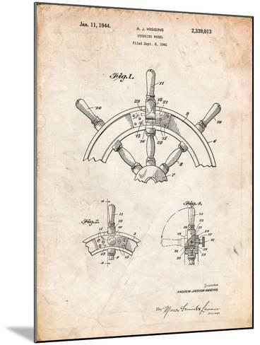 Ship Steering Wheel Patent-Cole Borders-Mounted Art Print