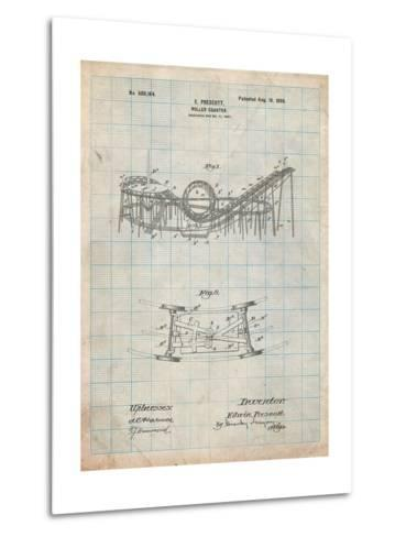 Coney Island Loop the Loop Roller Coaster Patent-Cole Borders-Metal Print