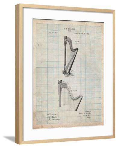 Harp Instrument 1890 Patent-Cole Borders-Framed Art Print