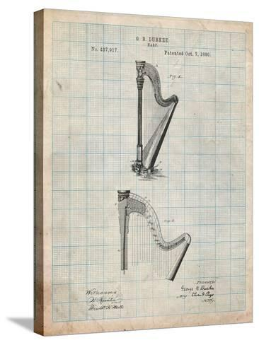 Harp Instrument 1890 Patent-Cole Borders-Stretched Canvas Print