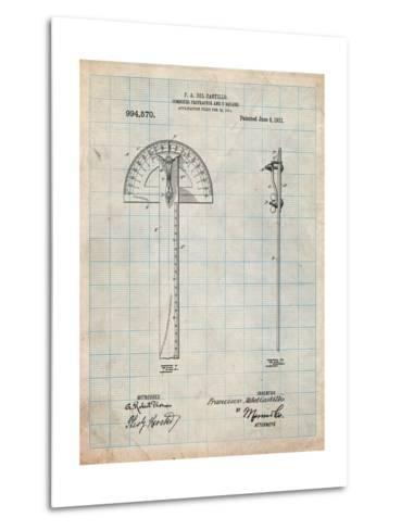 Protractor T-Square Patent-Cole Borders-Metal Print