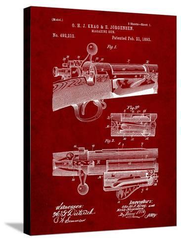 Krag Jãrgensen Repeating Rifle Patent Print-Cole Borders-Stretched Canvas Print