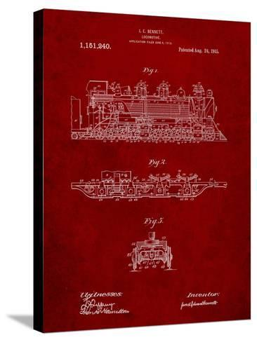 Steam Locomotive 1915 Patent-Cole Borders-Stretched Canvas Print
