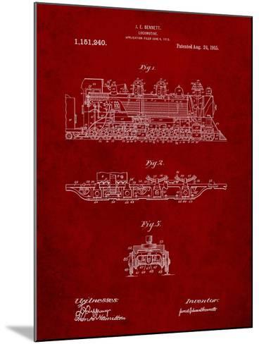 Steam Locomotive 1915 Patent-Cole Borders-Mounted Art Print