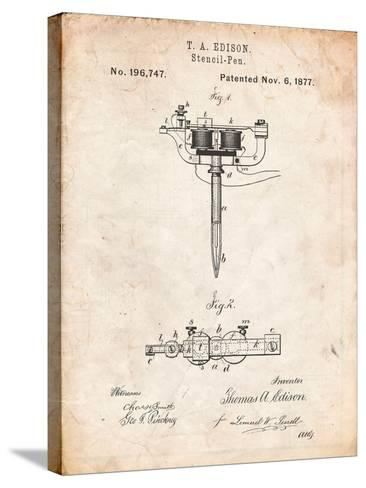 Stencil Pen Patent Art-Cole Borders-Stretched Canvas Print