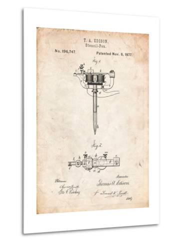 Stencil Pen Patent Art-Cole Borders-Metal Print