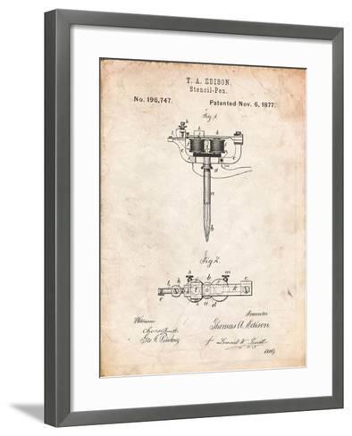 Stencil Pen Patent Art-Cole Borders-Framed Art Print
