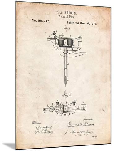Stencil Pen Patent Art-Cole Borders-Mounted Art Print