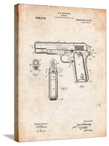 Colt 45 Patent 1911, Firearm Patent-Cole Borders-Stretched Canvas Print