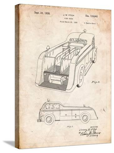 Firetruck 1939 Two Image Patent-Cole Borders-Stretched Canvas Print