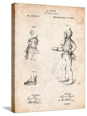 Firefighter Suit 1880 Patent-Cole Borders-Stretched Canvas Print