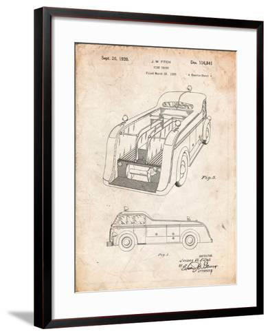 Firetruck 1939 Two Image Patent-Cole Borders-Framed Art Print