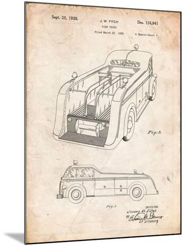 Firetruck 1939 Two Image Patent-Cole Borders-Mounted Art Print