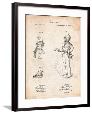 Firefighter Suit 1880 Patent-Cole Borders-Framed Art Print
