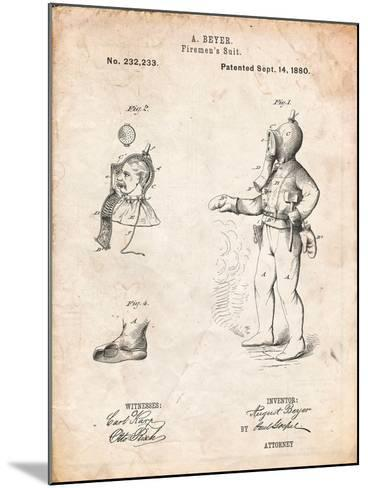 Firefighter Suit 1880 Patent-Cole Borders-Mounted Art Print