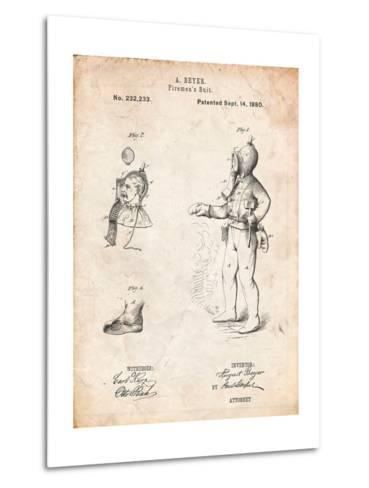 Firefighter Suit 1880 Patent-Cole Borders-Metal Print