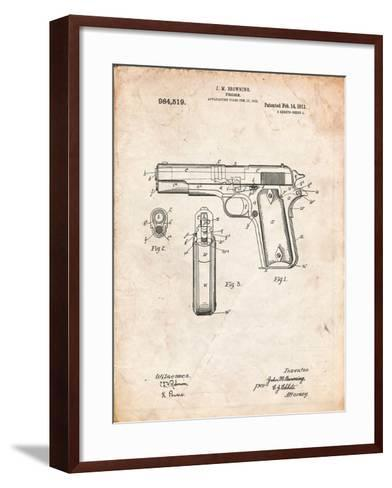 Colt 45 Patent 1911, Firearm Patent-Cole Borders-Framed Art Print