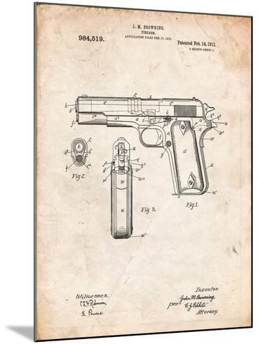Colt 45 Patent 1911, Firearm Patent-Cole Borders-Mounted Art Print