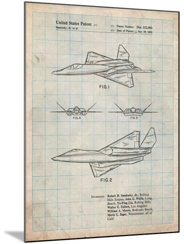 Northrop F-23 Fighter Stealth Plane Patent-Cole Borders-Mounted Art Print