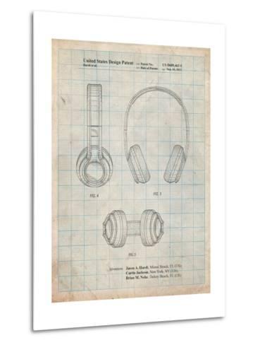 Bluetooth Headphones Patent-Cole Borders-Metal Print