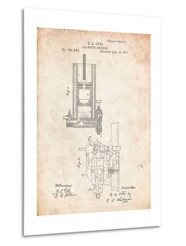 Combustion Engine Patent 1877-Cole Borders-Metal Print