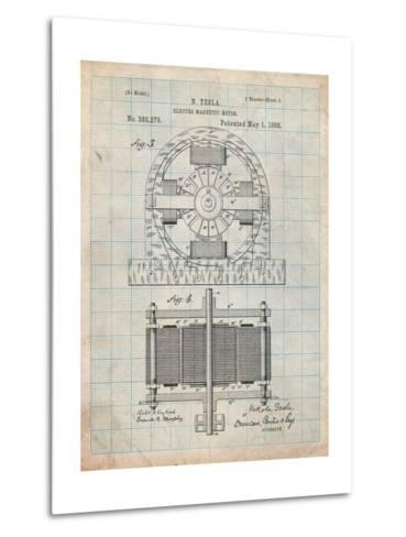 Tesla Electro Motor Patent-Cole Borders-Metal Print