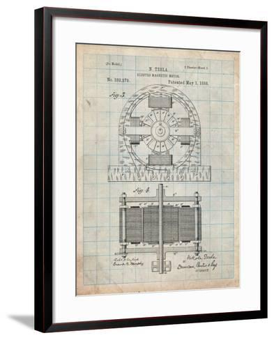 Tesla Electro Motor Patent-Cole Borders-Framed Art Print