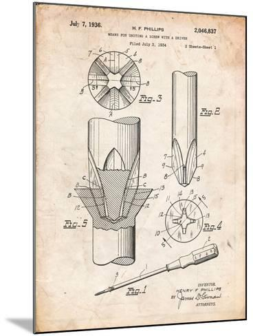 Phillips Screw Driver Patent-Cole Borders-Mounted Art Print