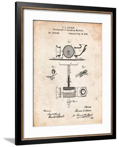 Thomas Edison Speaking Telegraph-Cole Borders-Framed Art Print