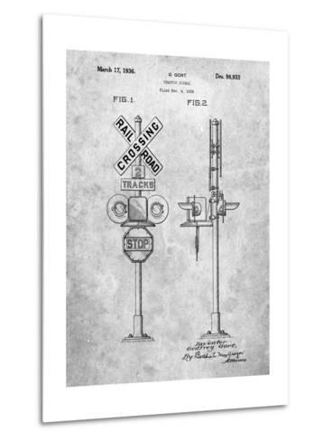 Railroad Crossing Signal Patent-Cole Borders-Metal Print
