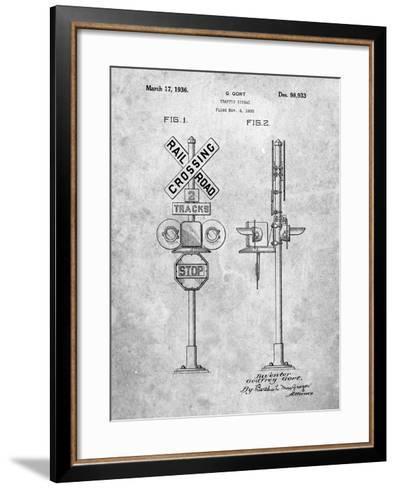 Railroad Crossing Signal Patent-Cole Borders-Framed Art Print