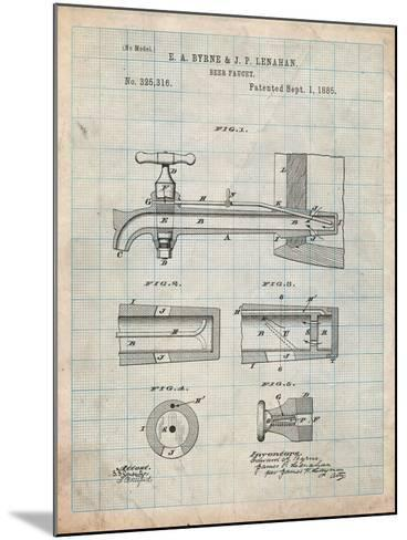 Vintage Beer Tap Patent-Cole Borders-Mounted Art Print