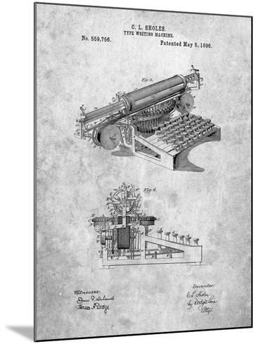 Last Sholes Typewriter Patent-Cole Borders-Mounted Art Print