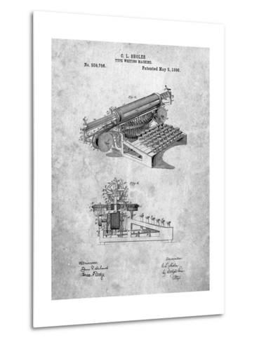 Last Sholes Typewriter Patent-Cole Borders-Metal Print