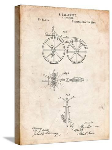 First Bicycle Patent-Cole Borders-Stretched Canvas Print