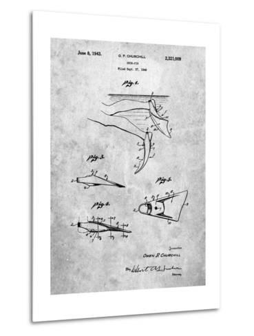 Swim Fins Patent-Cole Borders-Metal Print