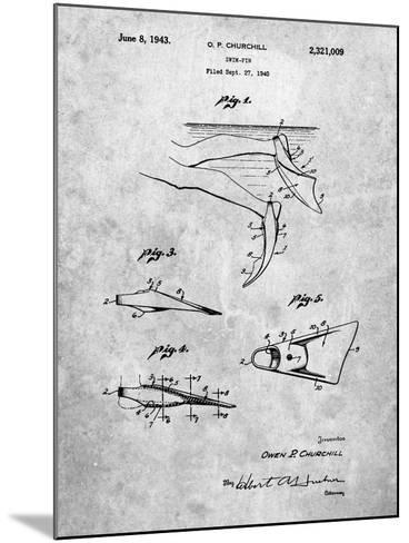 Swim Fins Patent-Cole Borders-Mounted Art Print