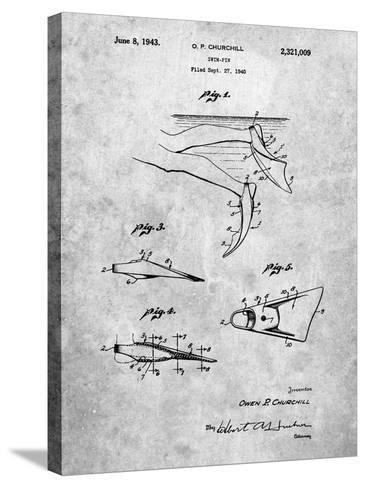 Swim Fins Patent-Cole Borders-Stretched Canvas Print