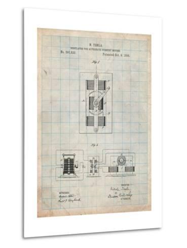 Tesla Regulator for Alternate Current Motor Patent-Cole Borders-Metal Print