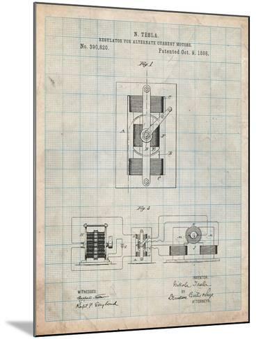 Tesla Regulator for Alternate Current Motor Patent-Cole Borders-Mounted Art Print