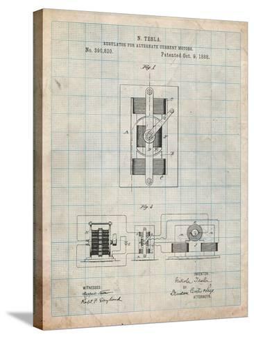 Tesla Regulator for Alternate Current Motor Patent-Cole Borders-Stretched Canvas Print