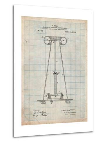 Tesla Energy Transmitter Patent-Cole Borders-Metal Print