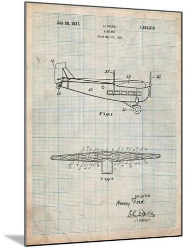 """Ford Tri-Motor Airplane """"The Tin Goose"""" Patent-Cole Borders-Mounted Art Print"""