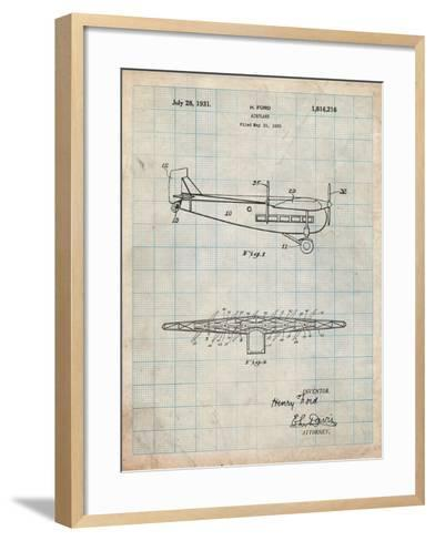 """Ford Tri-Motor Airplane """"The Tin Goose"""" Patent-Cole Borders-Framed Art Print"""