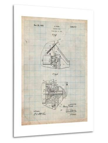 Ford Car Starter Patent-Cole Borders-Metal Print