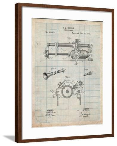 Edison Phonograph Patent-Cole Borders-Framed Art Print