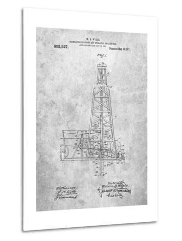 Hydraulic Drilling Rig Patent-Cole Borders-Metal Print