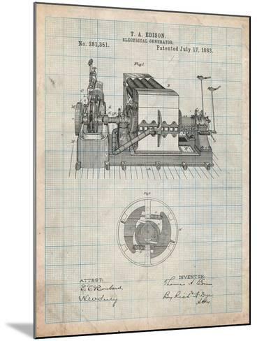 Edison Electrical Generator Patent Art-Cole Borders-Mounted Art Print